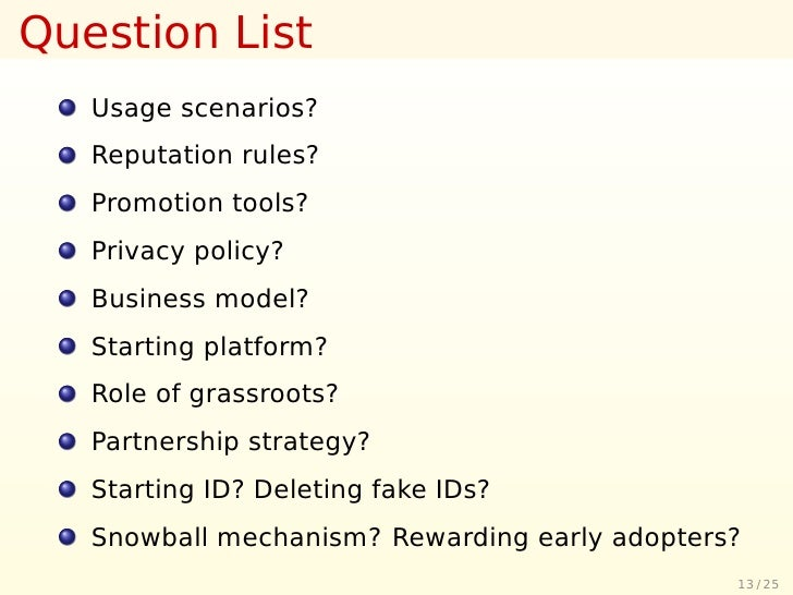 Question List    Usage scenarios?    Reputation rules?    Promotion tools?    Privacy policy?    Business model?    Starti...