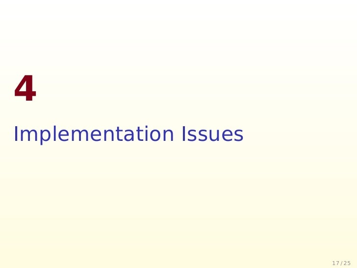4 Implementation Issues                             17 / 25