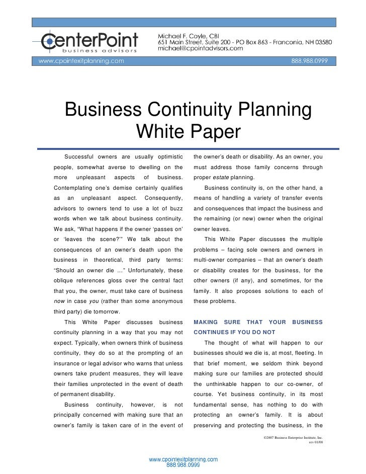 Business Continuity Planning             White Paper      Successful owners are usually optimistic               the owner...