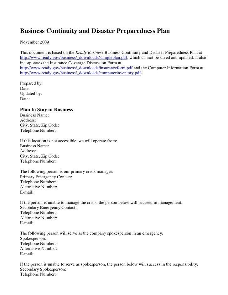 Business Continuity and Disaster Preparedness Plan<br />November 2009<br />This document is based on the Ready Business Bu...