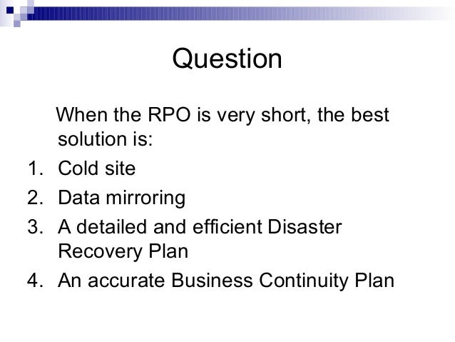 business continuity disaster recovery plan case study Case study: business continuity planning business aspect performed a business impact assessment (bia) and risk analysis focussing on the availability and continuity of the business operations of a major government service provider.