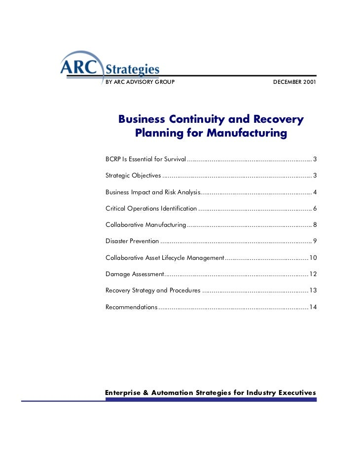 Business continuity and recovery planning for manufacturing – Business Contingency Plan Example