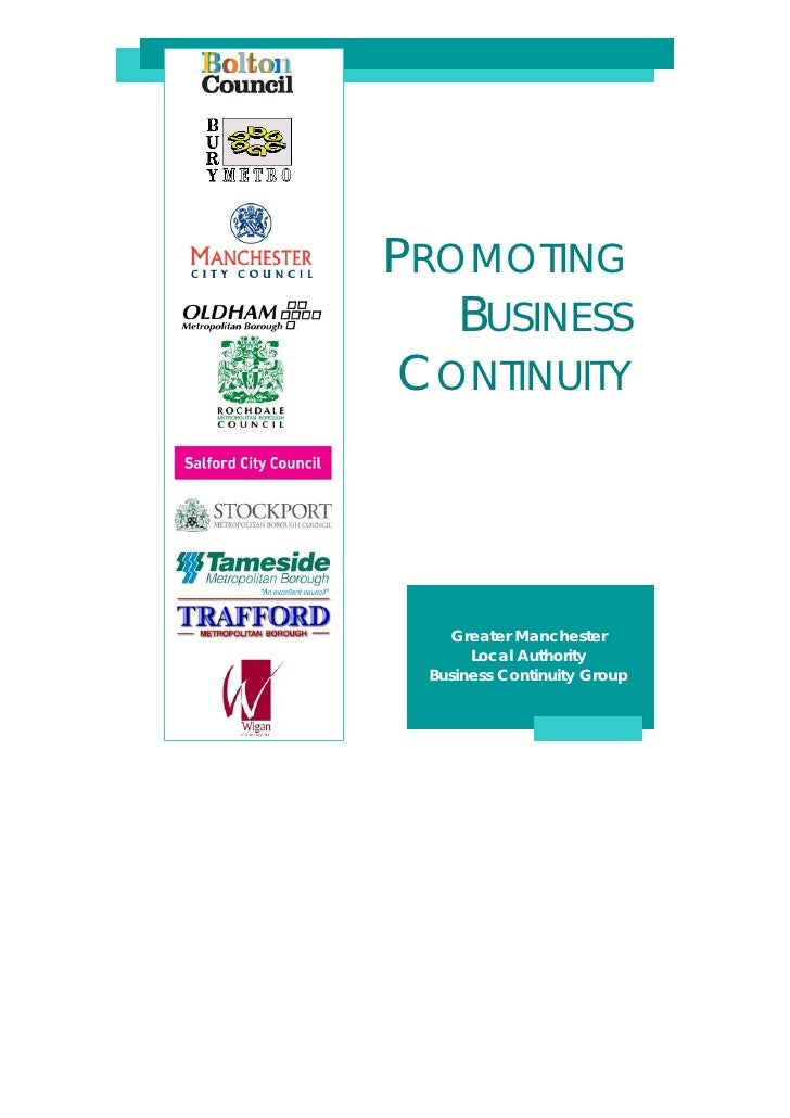 PROMOTING   BUSINESS CONTINUITY    Greater Manchester       Local Authority  Business Continuity Group