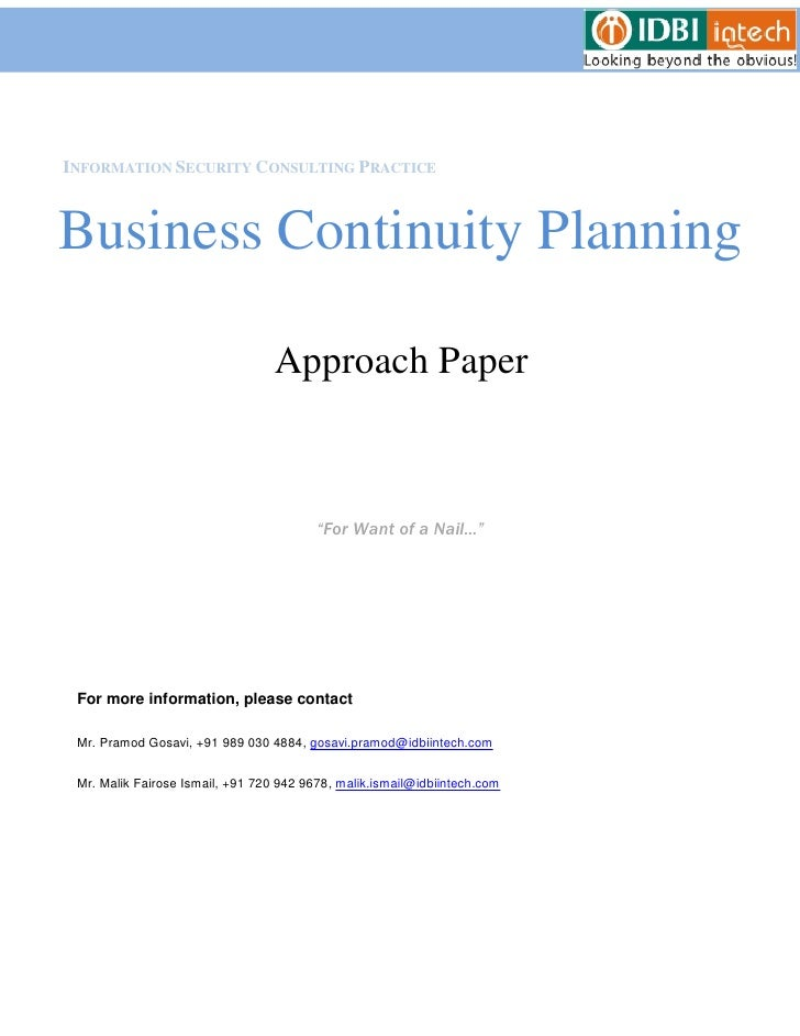 INFORMATION SECURITY CONSULTING PRACTICEBusiness Continuity Planning                                  Approach Paper      ...