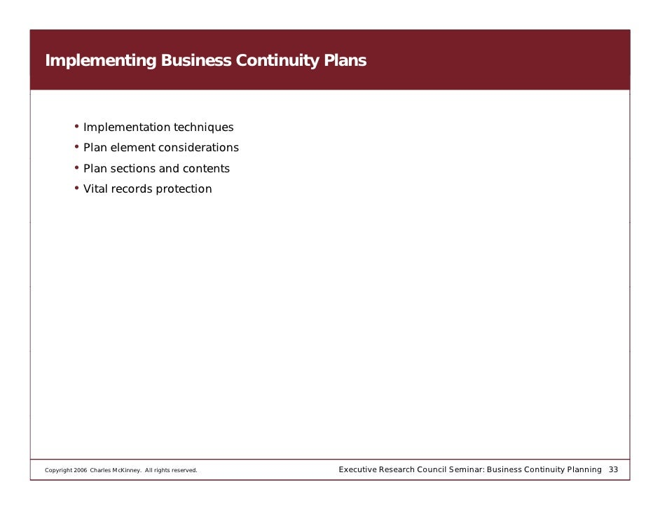 Business Continuity Planning Seminar