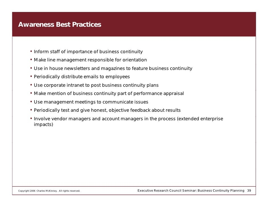 Essential guide to business continuity and disaster recovery plans  Executive Research Council Seminar  Business Continuity Planning