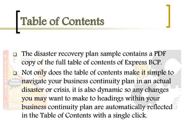 business continuity plan sample pdf