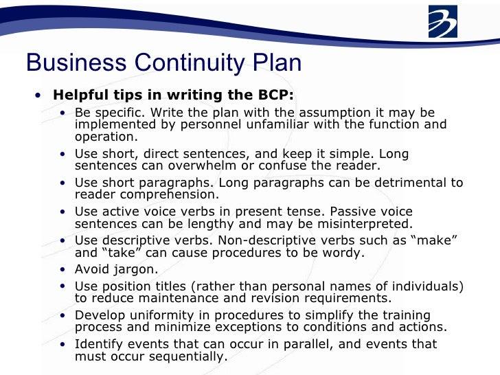 writing a business resumption plan