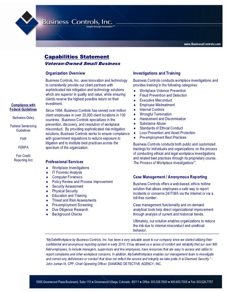 www.BusinessControls.com                          Capabilities Statement                          Veteran-Owned Small Busi...