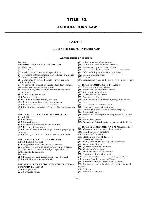 1763 TITLE 52. ASSOCIATIONS LAW _________________________________________________________________________ PART I. BUSINESS...