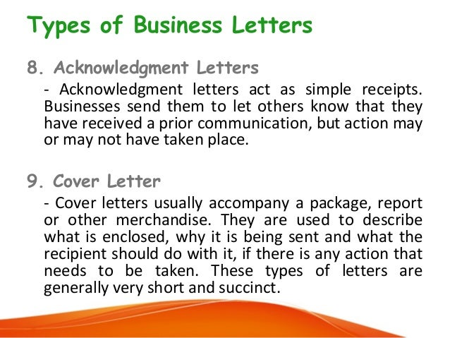 10 types of business letters