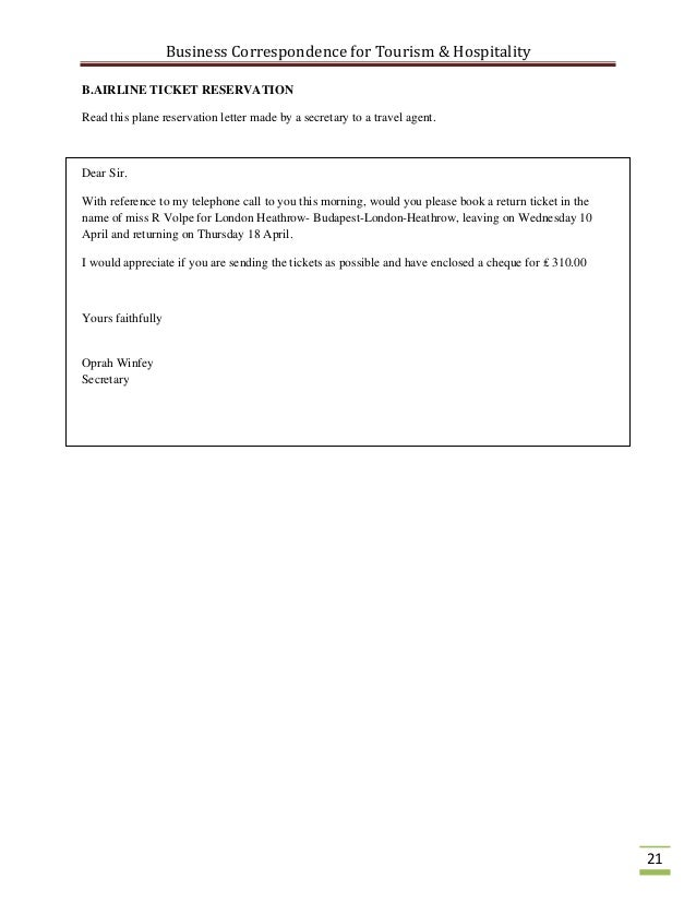Air Ticket Booking Request Letter
