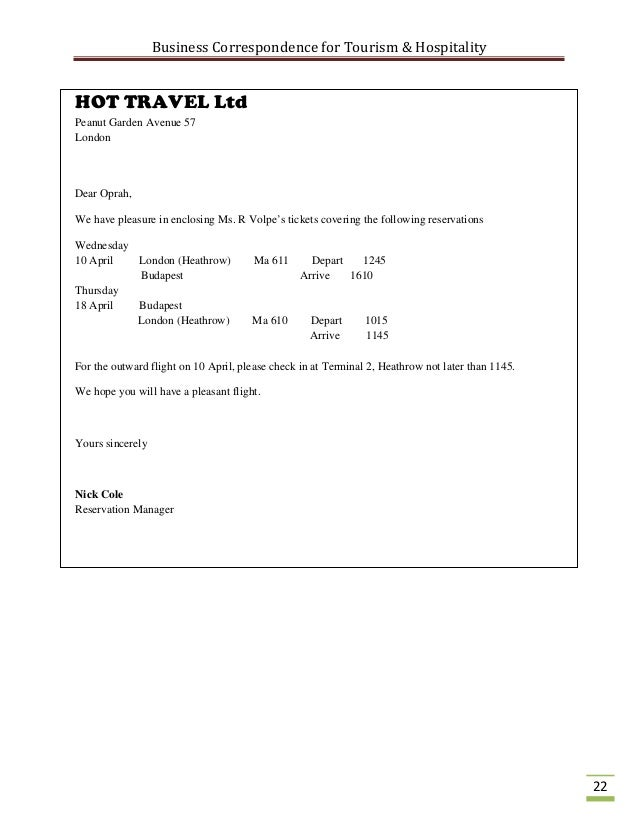 Business correspondence for the tourism industry winfey secretary 23 altavistaventures Images