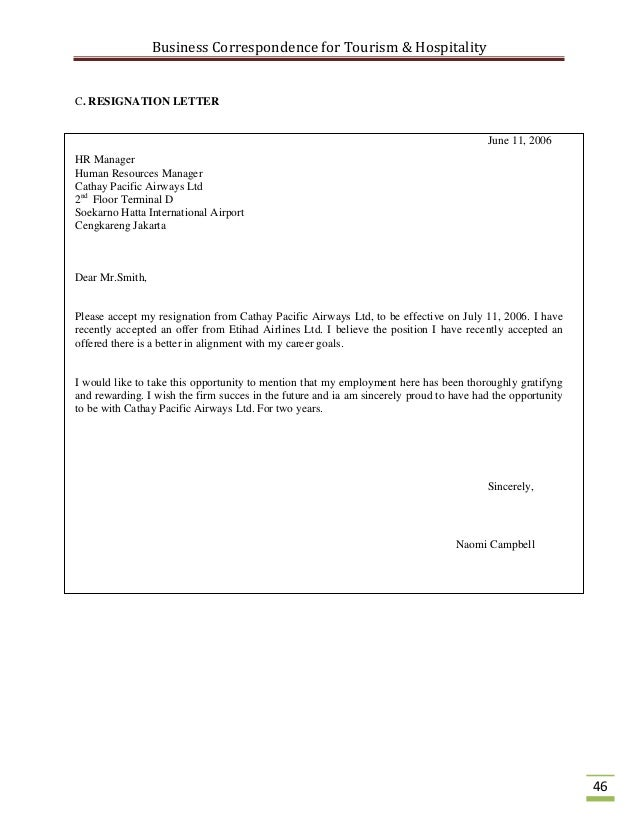 application letter for hospitality industry