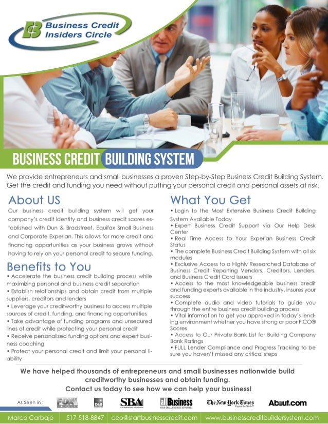 BusinessCreditBuildingSystem WeprovideentrepreneursandsmallbusinessesaprovenStep-by-StepBusinessCreditBuildingSystem. Gett...