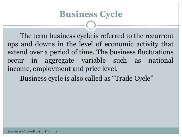 Business Cycle The term business cycle is referred to the recurrent ups and downs in the level of economic activity that e...