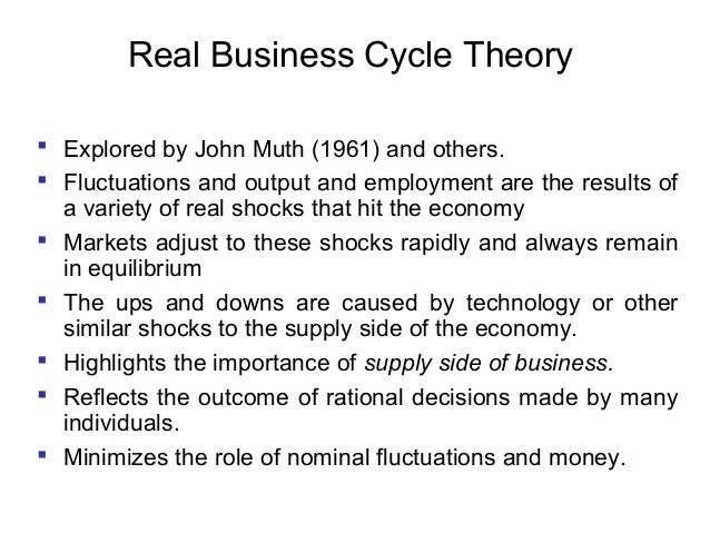 Real Business Cycle Theory  Explored by John Muth (1961) and others.  Fluctuations and output and employment are the res...