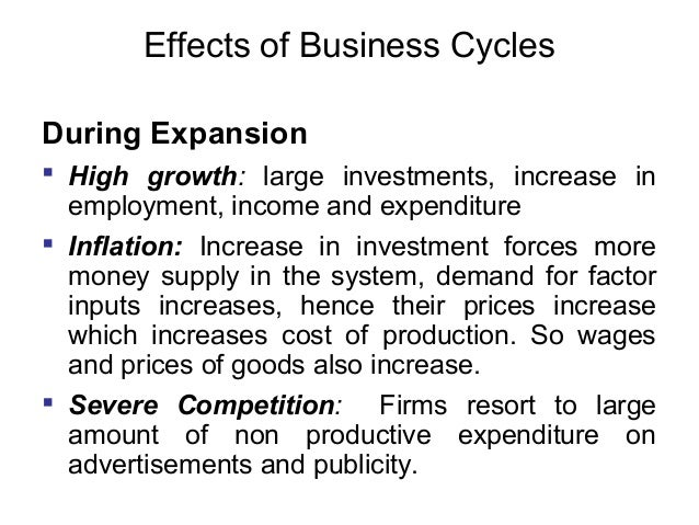 Effects of Business Cycles During Expansion  High growth: large investments, increase in employment, income and expenditu...