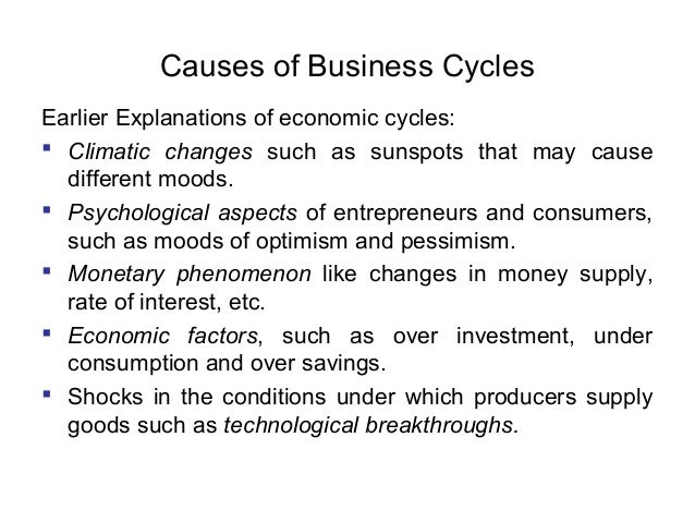 Causes of Business Cycles Earlier Explanations of economic cycles:  Climatic changes such as sunspots that may cause diff...
