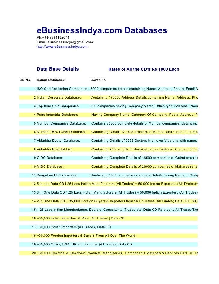 eBusinessIndya.com Databases            Ph:+91-9391162671            Email: eBusinessIndya@gmail.com            http://www...