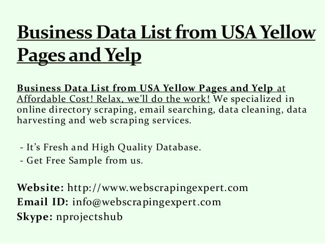 Business Data List from USA Yellow Pages and Yelp