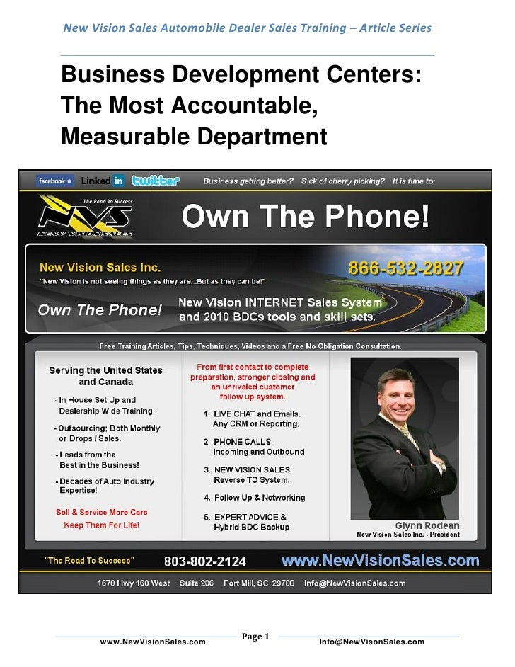 New Vision Sales Automobile Dealer Sales Training – Article Series   Business Development Centers: The Most Accountable, M...