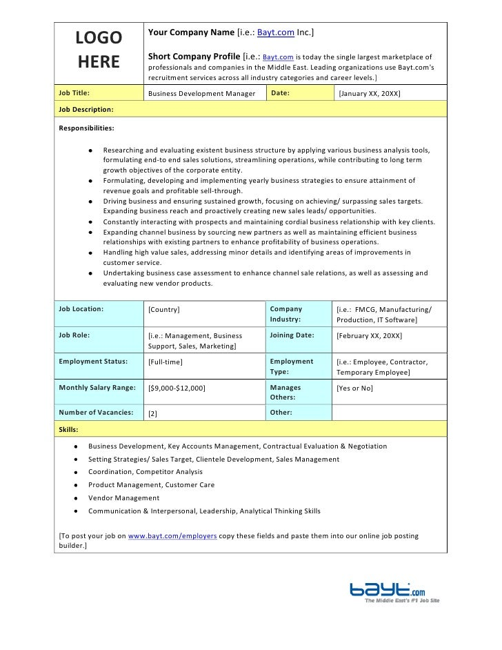 business development manager job description template by