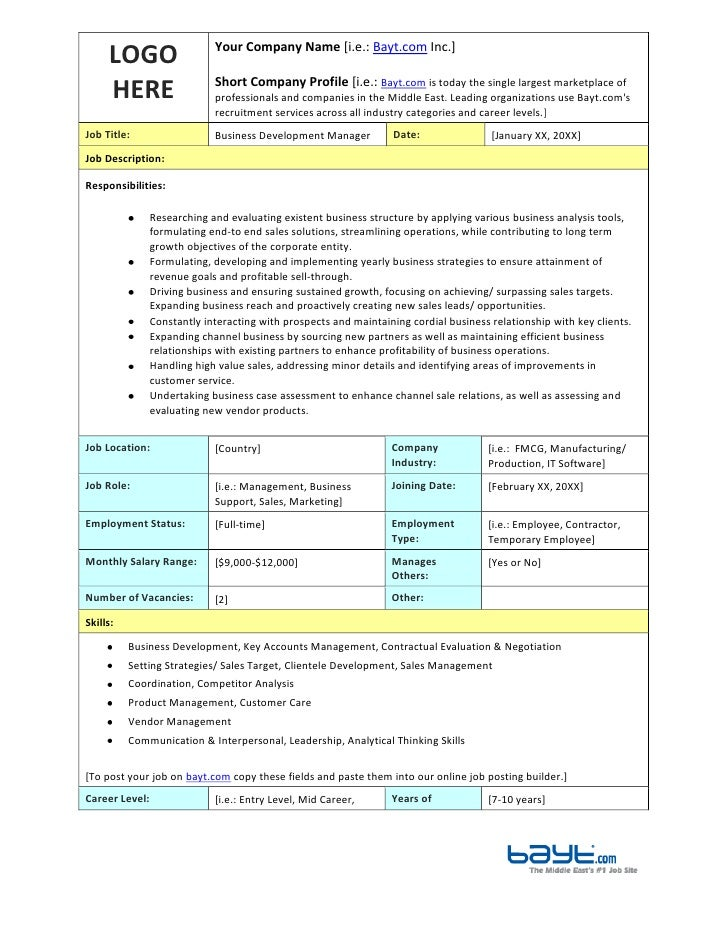 Business Development Manager Job Description Template By Bayt.Com