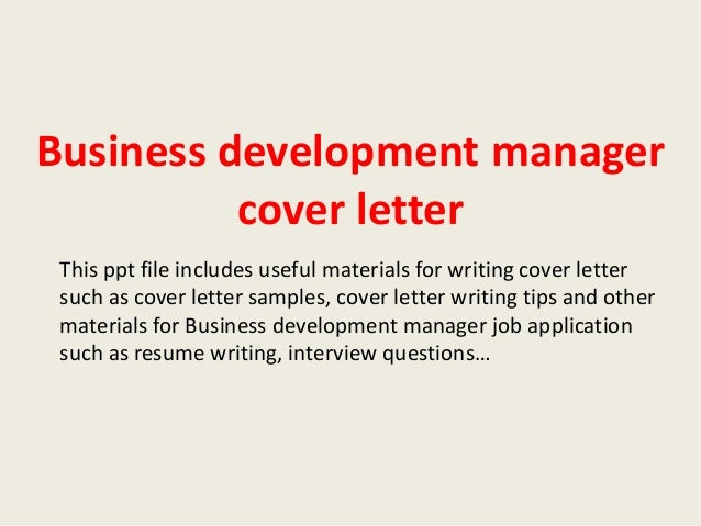 Business development manager cover letter