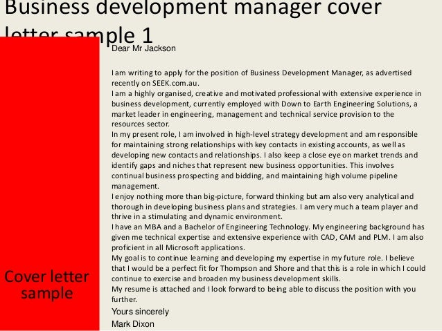 Perfect Business Development Manager Cover Letter ...