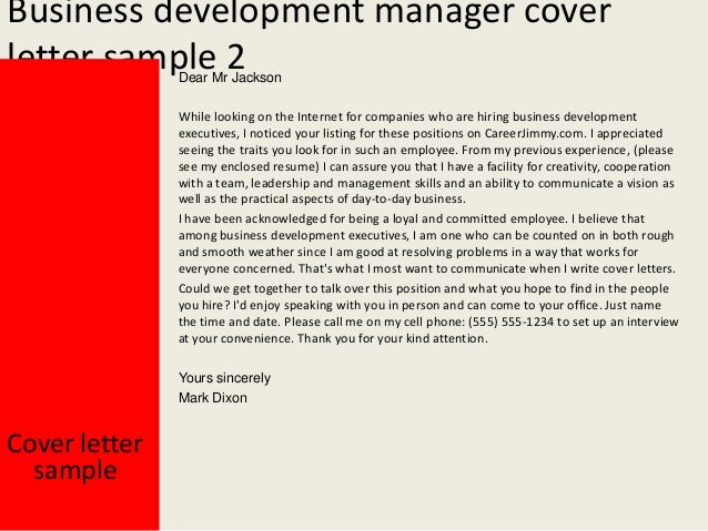 High Quality Business Development Manager Cover Letter ...