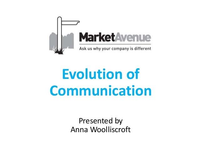 Evolution of Communication Presented by Anna Woolliscroft