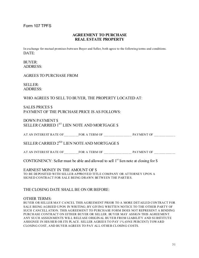 30 32 form 107 tpfs agreement to purchase real estate
