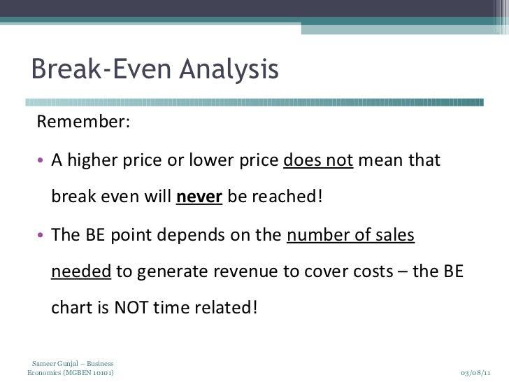 Business economics cost analysis – Define Breakeven Analysis