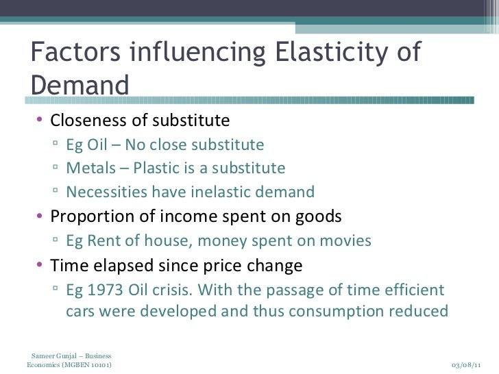 the factor of the substitution possibilities and the elasticity of supply And labor-demand elasticities: empirical evidence from india  presence of intersectoral factor  thus substitution possibilities in.