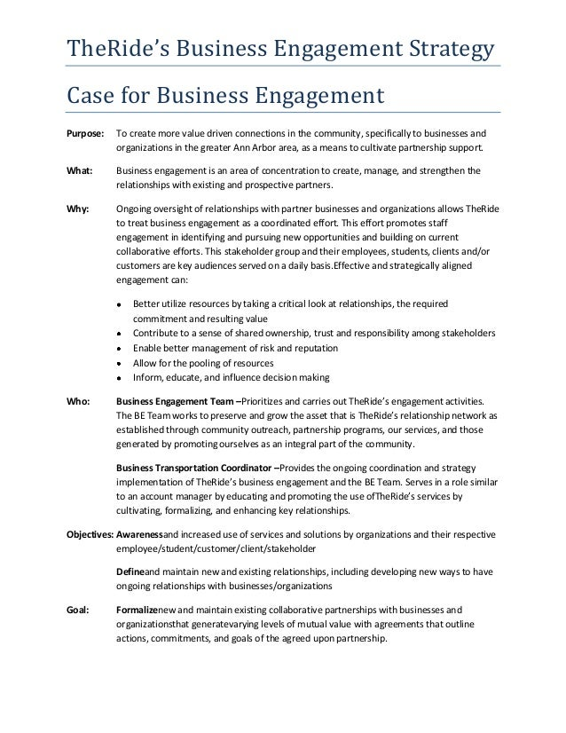 TheRide's Business Engagement Strategy Case for Business Engagement Purpose:  To create more value driven connections in t...
