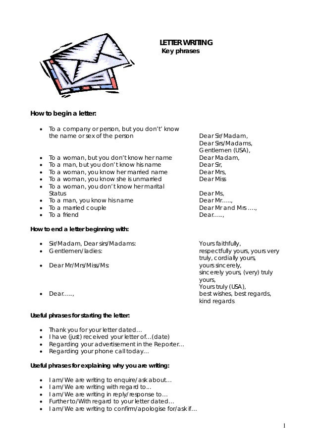 LETTER WRITING Key Phrases How To Begin A Letter:       Useful ...  How To Begin A Cover Letter