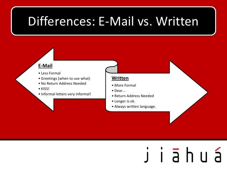 Differences: E-Mail vs. Written E-Mail • Less Formal • Greetings (when to use what)      Written • No Return Address Neede...