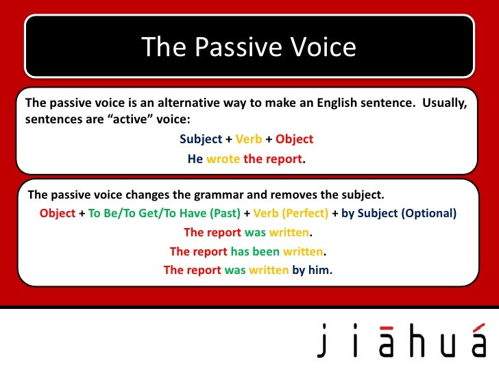 """The Passive VoiceThe passive voice is an alternative way to make an English sentence. Usually,sentences are """"active"""" voice..."""