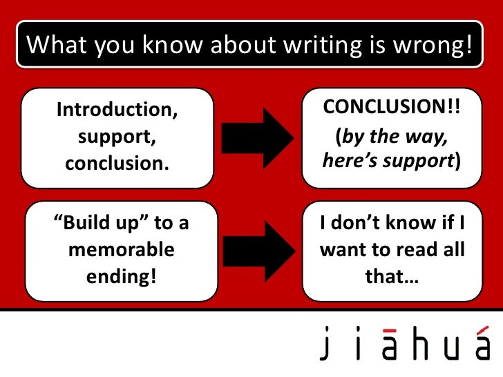 What you know about writing is wrong!  Introduction,         CONCLUSION!!    support,             (by the way,   conclusio...