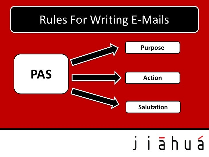 Rules For Writing E-Mails                    PurposePAS                  Action                    Salutation