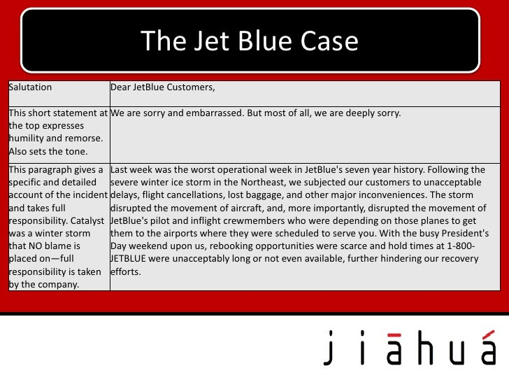 The Jet Blue CaseSalutation             Dear JetBlue Customers,This short statement at We are sorry and embarrassed. But m...
