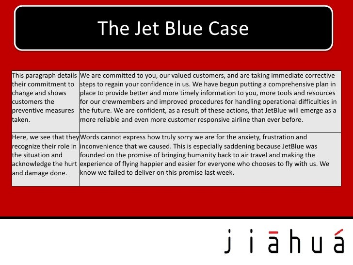 The Jet Blue CaseThis paragraph details   We are committed to you, our valued customers, and are taking immediate correcti...