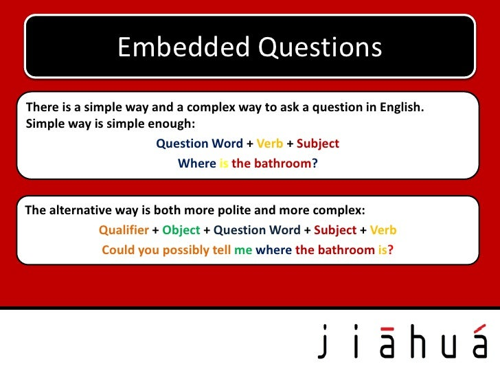 Embedded E-Mail                  Fix the QuestionsThere is a simple way and a complex way to ask a question in English.Sim...
