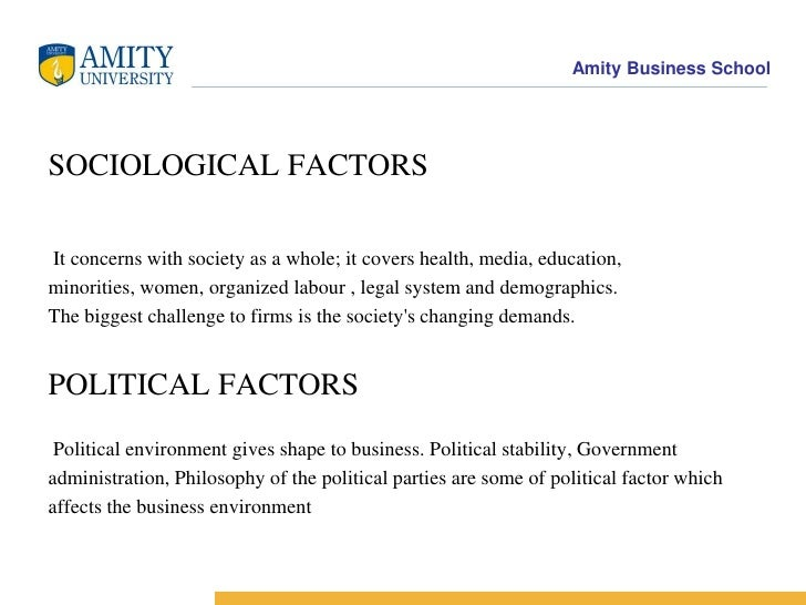 example of a political factor in the remote environment Learning objectives three tiers of environmental factors that affect firm performance five factors in the remote environment examples of the rates globalization of the economy 4- social factors present in the external environment: factors political.