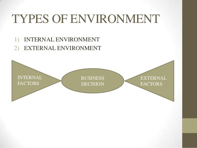 internal environment of business Internal environment it is defined as all the forces or conditions that are available within an environment that affects on organization and business it is also known as controllable factors because business can control them.