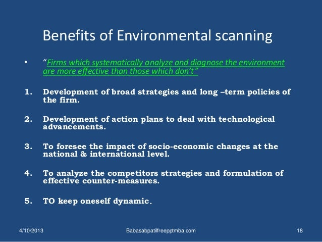economy will impact completing environmental scan Molly linda poole environmental scanning is vital to strategic planning educators can use environmental scanning techniques to anticipate social, economic, political, and technological.