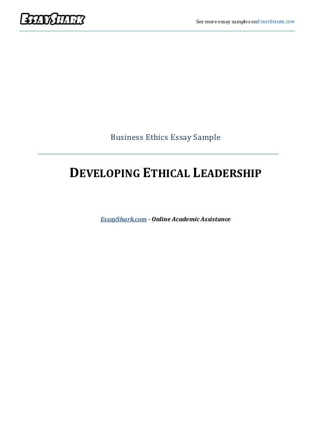 ethical leadership business essay