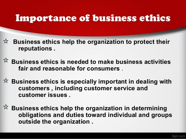 business ethics important Business ethics the application of ethical behavior by a business or in a business environment is the application of ethical behavior by a business or in a business environment an ethical business not only abides by laws and appropriate regulations, it operates honestly, competes fairly, provides a reasonable environment for its employees.