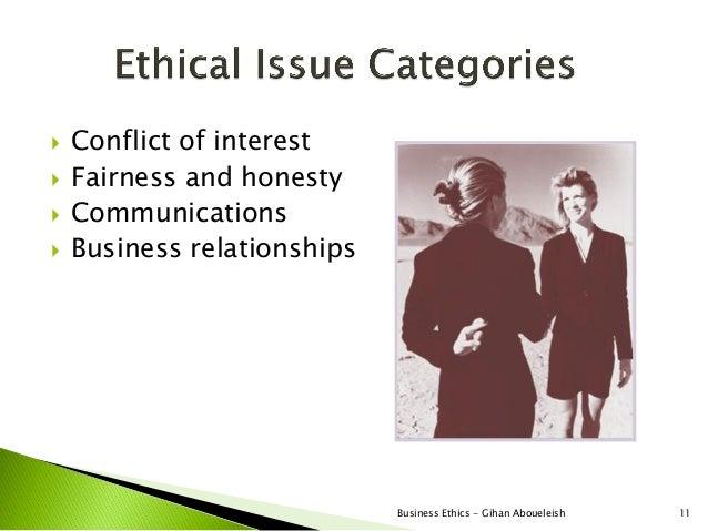    Conflict of interest   Fairness and honesty   Communications   Business relationships                             B...